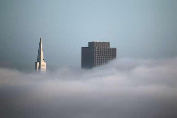 The Transamerica Pyramid and 555 California skyscrapers rise above a low layer of fog in San Francisco, Calif. on Friday, Dec. 4, 2015.