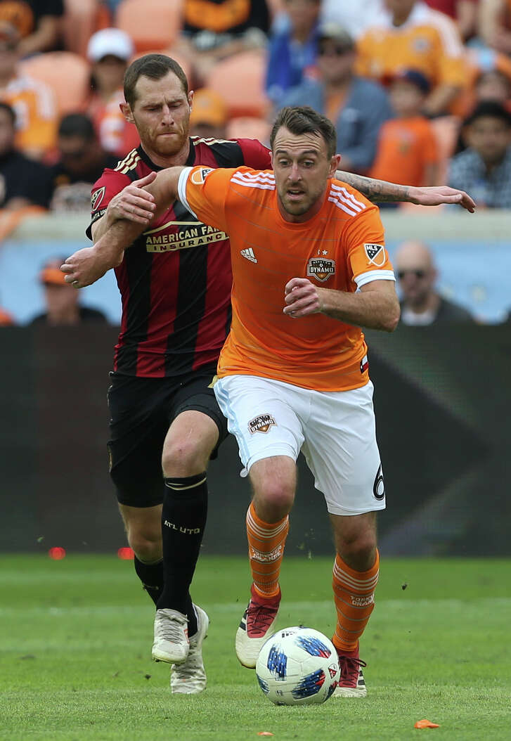 Dynamo midfielder Eric Alexander, front, has been an integral part of the team's offensive attack, assisting on two goals in the first two games.