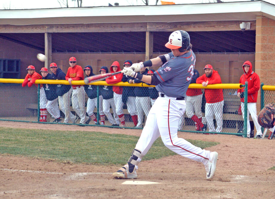 Edwardsville sophomore Drake Westcott connects for an RBI double during the first inning of Friday's game against Tinley Park at Tom Pile Field.