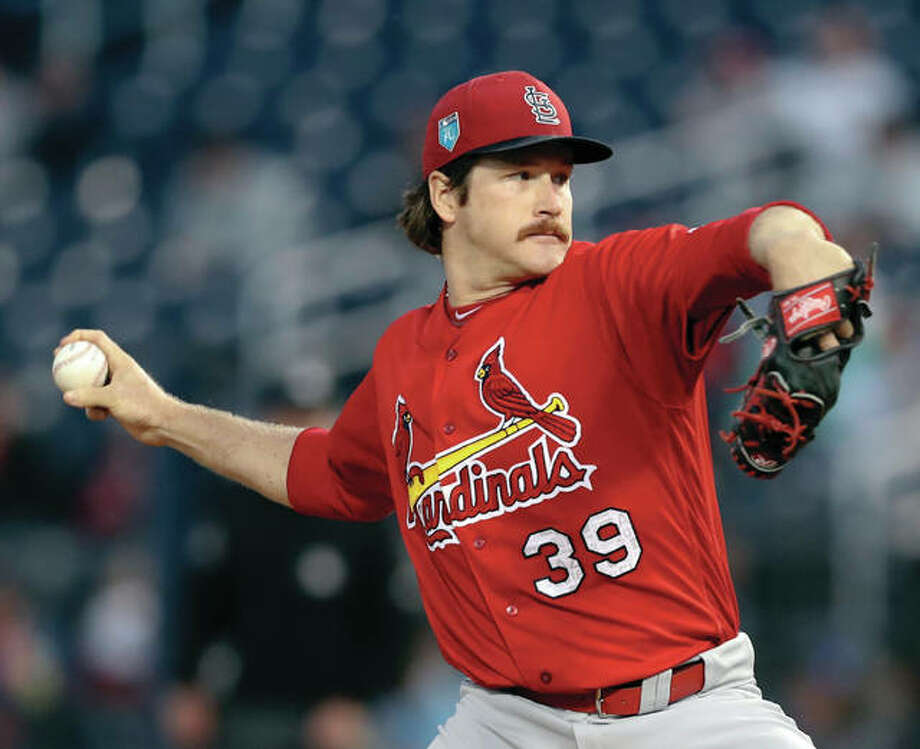 Cardinals starting pitcher Miles Mikolas works to the plate during the first inning of a spring training game against the Houston Astros on March 9 in West Palm Beach, Fla. Photo: Associated Press