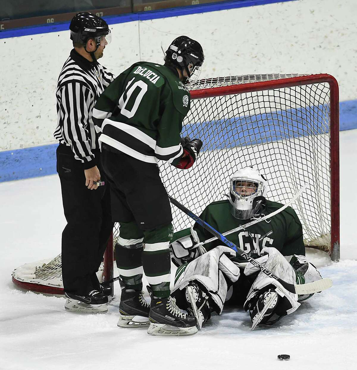 Farmington Valley leads, 7-1, over Guilford in the CIAC Division II state ice hockey championship, March 16, 2018, at Ingalls Rink in New Haven.