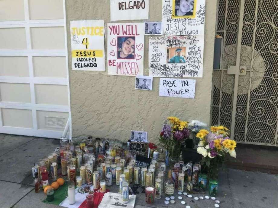 A memorial was set up near where Jesus Delgado-Duarte, 19, was shot and killed by San Francisco police. He was accused of taking part in an armed robbery prior to the shooting. Photo: Sophie Haigney, The Chronicle / /