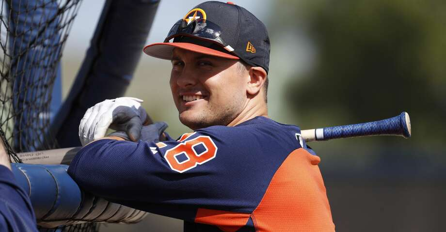 Houston Astros third baseman J.D. Davis (28) during spring training at The Fitteam Ballpark of the Palm Beaches, Saturday, Feb. 24, 2018, in West Palm Beach.   ( Karen Warren / Houston Chronicle ) Photo: Karen Warren/Houston Chronicle