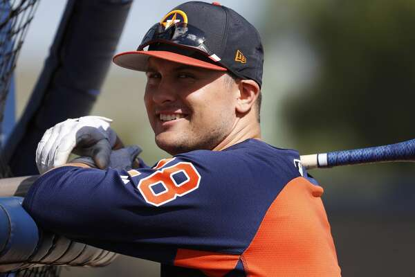 Houston Astros third baseman J.D. Davis (28) during spring training at The Fitteam Ballpark of the Palm Beaches, Saturday, Feb. 24, 2018, in West Palm Beach.   ( Karen Warren / Houston Chronicle )