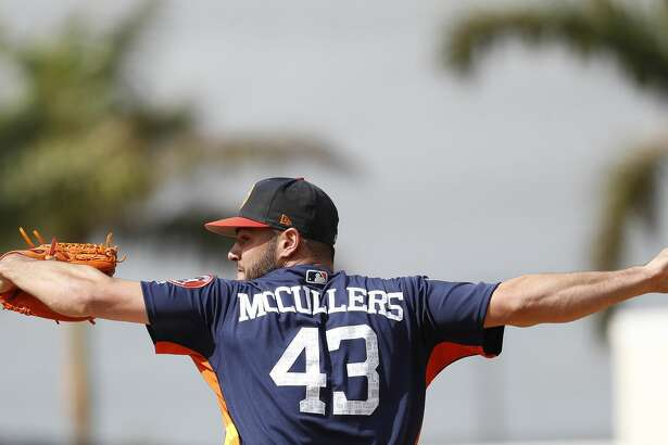 Houston Astros RHP pitcher Lance McCullers Jr. (43) throws live batting practice during spring training at The Ballpark of the Palm Beaches, Tuesday, Feb. 20, 2018, in West Palm Beach.   ( Karen Warren / Houston Chronicle )
