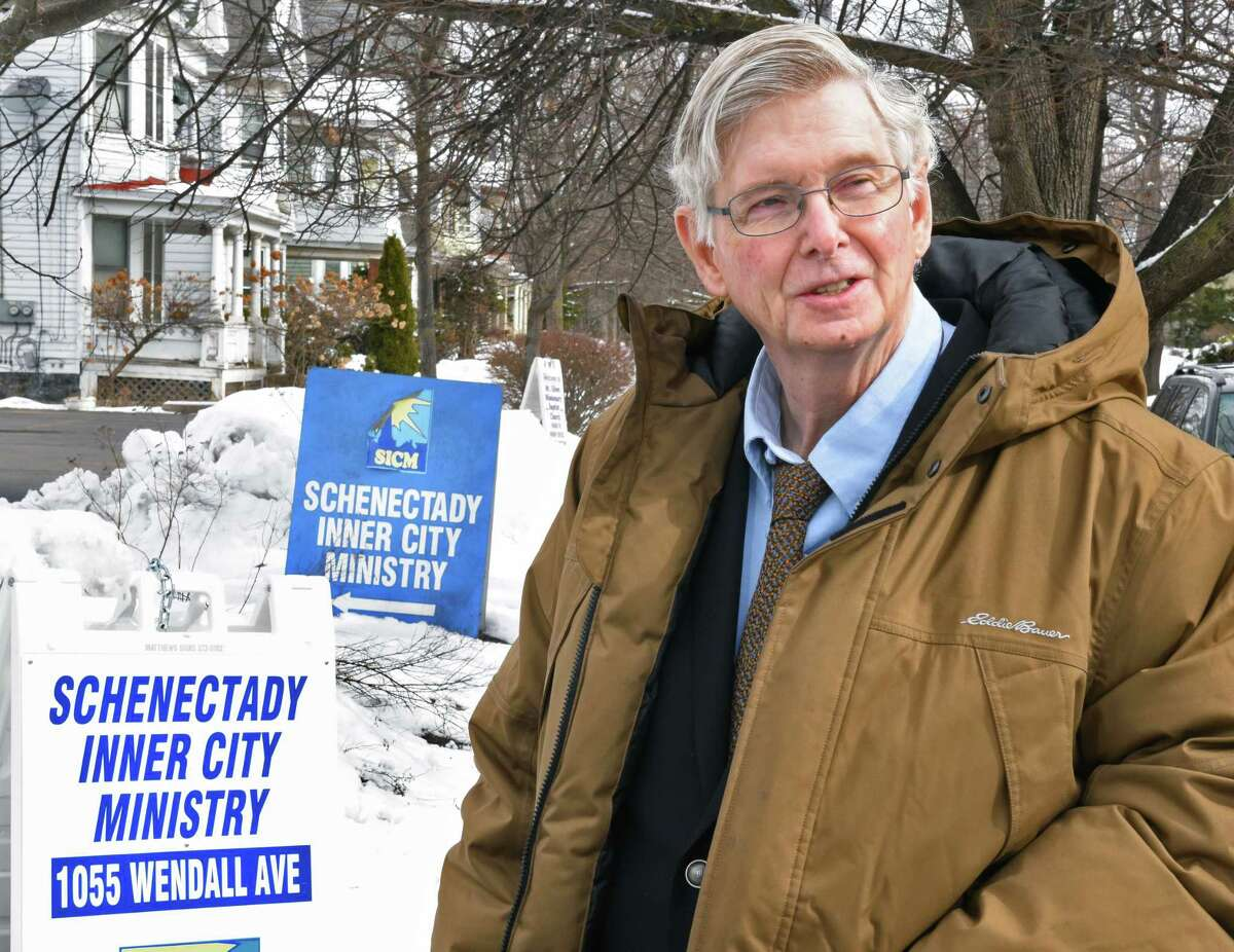 Rev. Phil Grigsby outside the Schenectady Inner City Ministry offices Thursday March 15, 2018 in Schenectady, NY. (John Carl D'Annibale/Times Union)