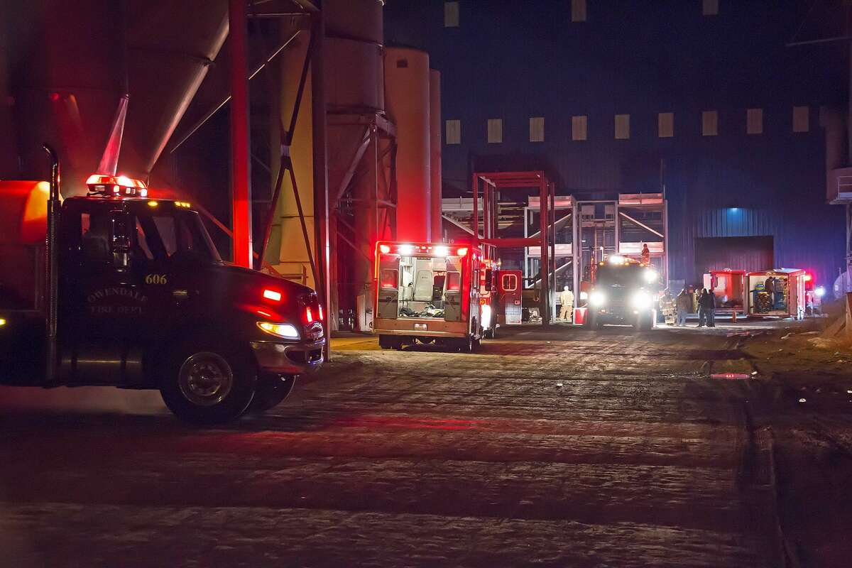 Fire crews work to get control of a fire at Blue Diamond on Friday evening.