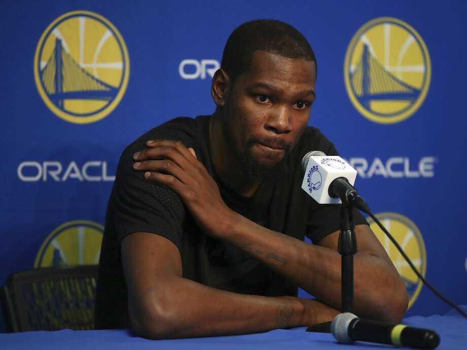 Golden State Warriors' Kevin Durant speaks during a media conference on Friday, March 16, 2018, in Oakland, Calif. Durant will miss 1-2 weeks to allow a rib injury to heal. (AP Photo/Ben Margot) Photo: Ben Margot / Associated Press
