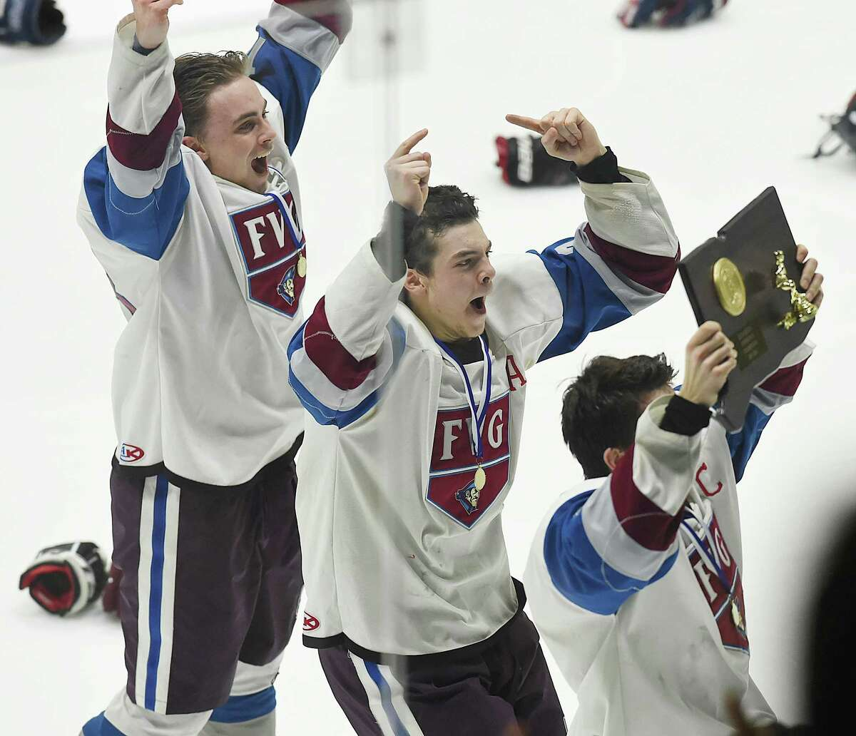 Farmington Valley defeats Guilford, 7-3 in the CIAC Division II state ice hockey championship, March 16, 2018, at Ingalls Rink in New Haven.
