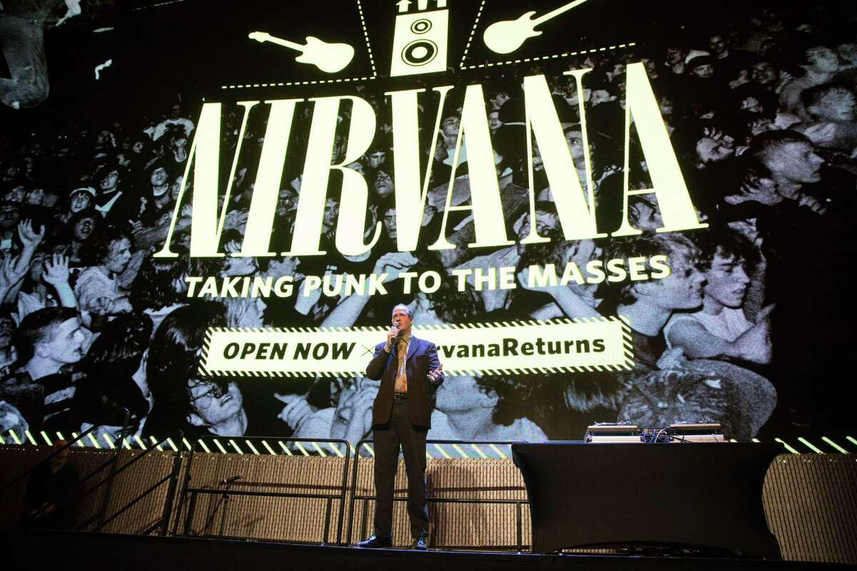 Krist Novoselic of Nirvana speaks during a celebration of Nirvana's 30th anniversary and the return of MoPOP's Nirvana exhibit, on Friday, March 16, 2018.