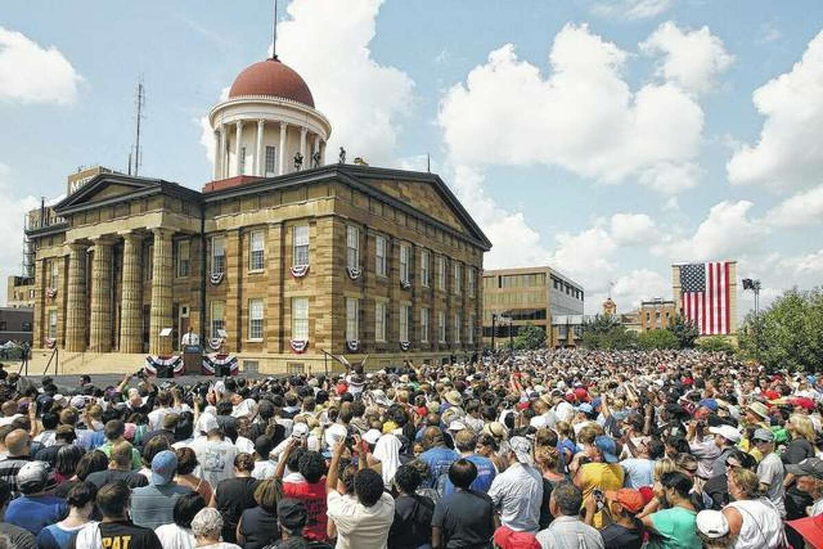 FILE - The Old State Capitol building in Springfield may no longer be used to conduct the people's business, but it is a popular place for events, re-enactments and political rallies.