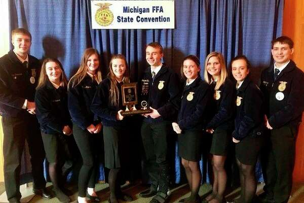 The North Huron FFA Agricultural Issues team received third overall in their contest. Team members include (from left): Alex Schornack, Elizabeth Trudeau, Olyvia Majeski, Grace Wiley, Benjamin Zaleski, Faith Yageman, Kate Jaworski, Kelsey Voss and Nick Craig.(Submitted Photo)