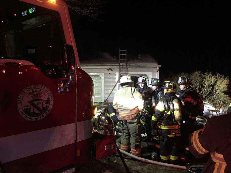 Danbury firefighters responded to a garage fire on Indian Spring Road around 12:40 a.m. on Saturday, March 17. Photo: Danbury Fire Department