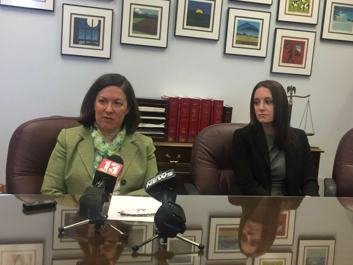 Saratoga County District Attorney Karen Heggen and Assistant District Attorney Katherine DeMartino speak to reporters after John W. Cole was convicted in Saratoga County Court in Ballston Spa on March 16, 2018.