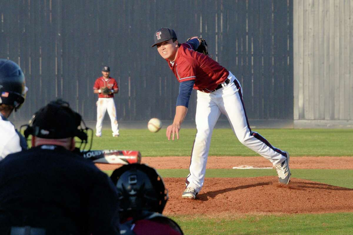 Harrison Stovern (10) of Tompkins delivers a pitch during the second inning of a varsity baseball game between the Seven Lakes Spartans and the Tompkins Falcons on Tuesday March 14, 2018 at Seven Lakes HS, Katy, TX.