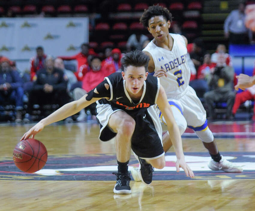 Mohonasen's Duncan Tallman, left, regains control of the ball from Ardsley's Zeke Blauner (2) in a NYSPHSAA Class A Boys Basketball semifinal on Saturday, March 17, 2018, at Floyd L. Maines Arena in Binghamton, N.Y. (Tim Roske/Special to the Times Union)