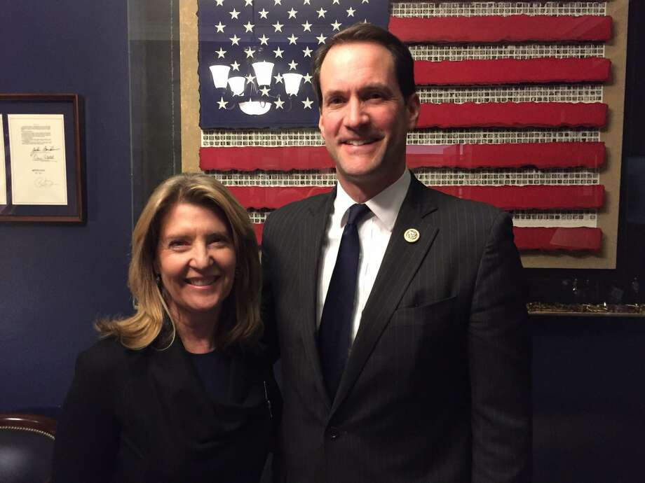 Cindi Bigelow, CEO of Bigelow Tea, poses with U.S. Rep. Jim Himes just prior to the recent State of the Union address. Bigelow attended as Himes' guest for the event. She is a member of Connecticut Commission on Fiscal Stability and Economic Growth. Photo: Contributed / Contributed Photo / Fairfield Citizen