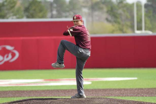 Tyler Scataglia (6) pitched a complete game shutout in Summer Creek's 2-0 win over Crosby on March 3