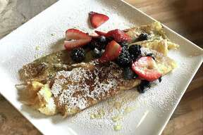 The sweet crepe off the brunch menu at Rosella at the Garden at the San Antonio Botanical Garden. The crepes featured a honey mascarpone filling and was topped with berries.