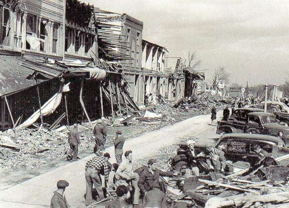 The downtown business district was hit hard by the tornado, which killed 19 people and damaged countless buildings and property. Photo: For The Telegraph