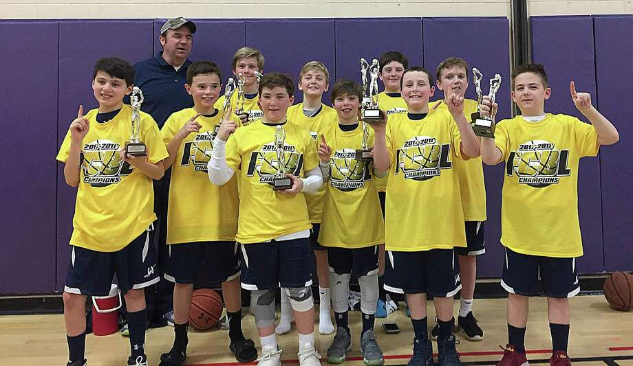 The Wilton 5 Boys team won the FCBL title last weekend. Team members are, from left, Ryan Luchetta, Coach Kevin McKiernan, Luke Ginsburg, Cole Siegel, Jack Schwartz, Cael Dexter, Luke Perna, Liam Murphy, Grady Kaliski, Liam McKiernan, and Matt Garcia. Photo: Contributed Photo /