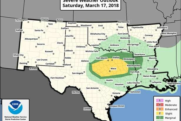 The National Weather Service of Houston and Galveston is warning of large hail and thunderstorms in southeast Texas for late Saturday night and early Sunday morning.