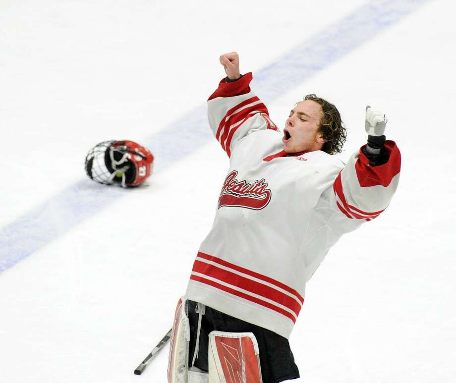 Fairfield Prep goalie John McGee reacts after Fairfield Prep won the boys high school ice hockey Division I state championship game against Greenwich High School, 4-2, at Ingalls Rink in New Haven, Conn., Saturday, March 17, 2018. Photo: Bob Luckey Jr. / Hearst Connecticut Media / Greenwich Time
