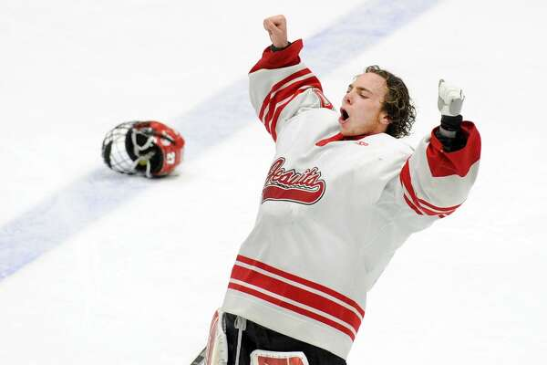 Fairfield Prep goalie John McGee reacts after Fairfield Prep won the boys high school ice hockey Division I state championship game against Greenwich High School, 4-2, at Ingalls Rink in New Haven, Conn., Saturday, March 17, 2018.