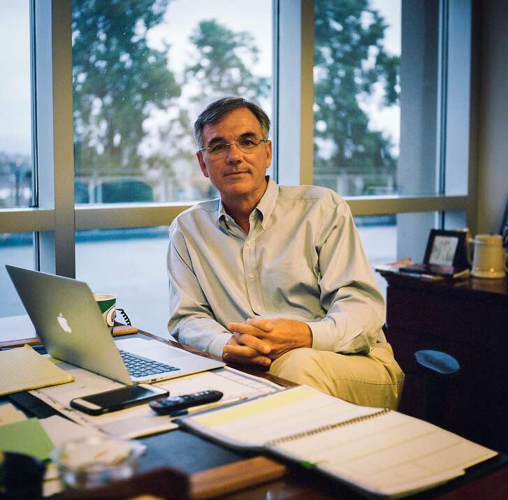 Billy Beane sits for a portrait in his office at the Oakland Alameda County Coliseum in Oakland, Calif., on Monday, Aug. 14, 2017.