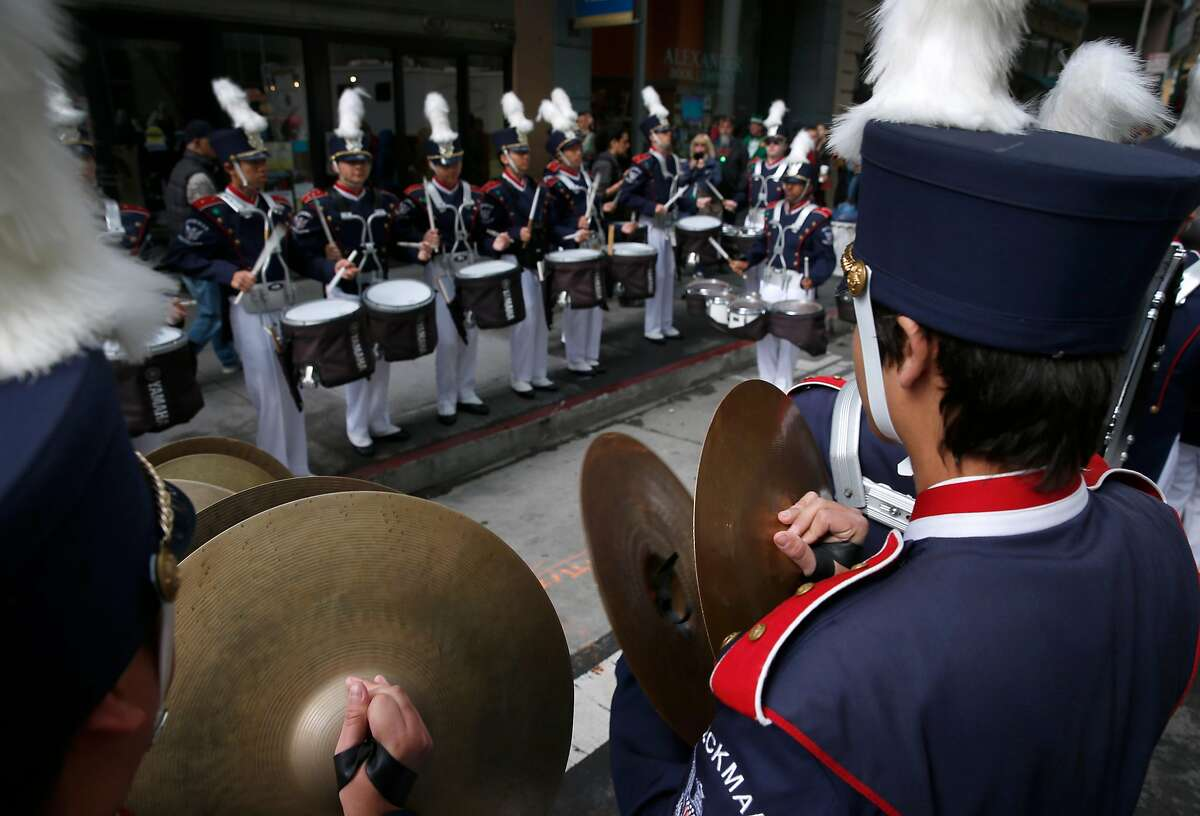 The Beckman High School Patriots band from Irvine, Calif. rehearses before marching in the 167th St. Patrick's Day Parade in San Francisco, Calif. on Saturday, March 17, 2018.