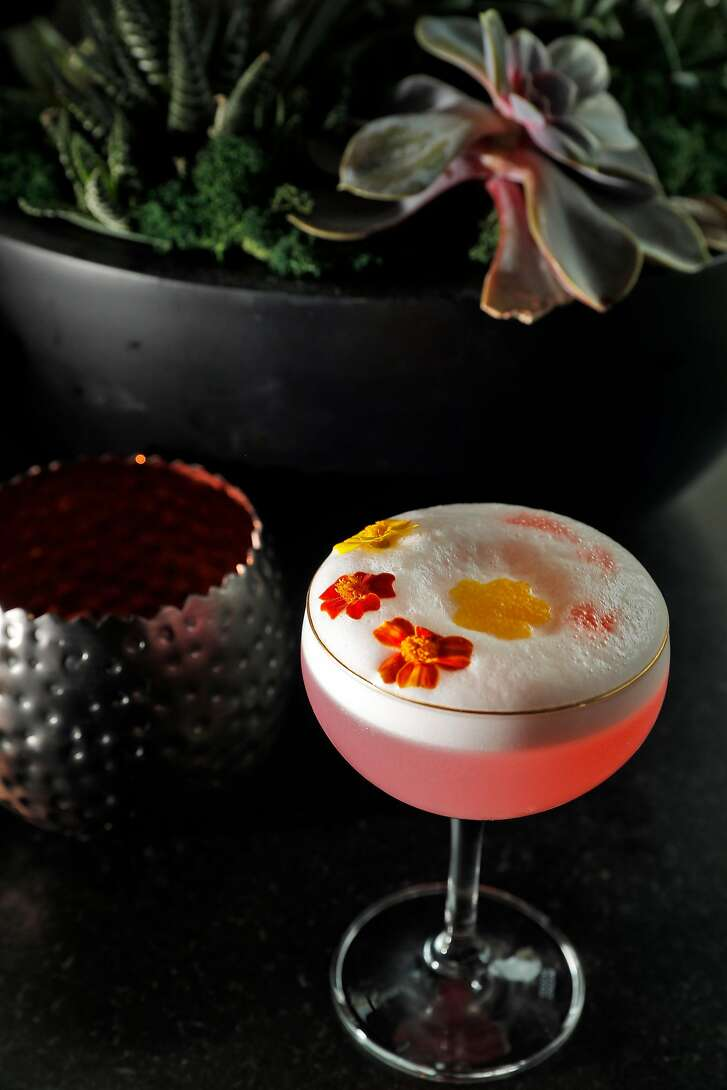 The Sakura cocktail served at the Kabuki Hotel bar in San Francisco, Calif., on Thursday, March 15, 2018. The hotel lobby and bar were recently renovated with more seating areas added.