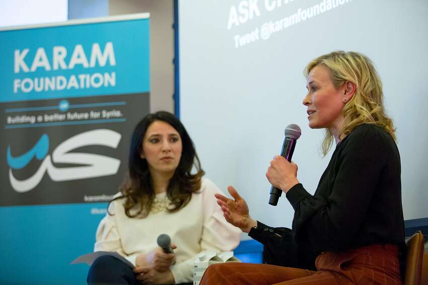 Lina Sergie Attar (left) of the Karam Foundation and Chelsea Handler talk about the crisis in Syria.