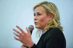 Chelsea Handler spoke about the Syrian refugee crisis at the We Work offices in San Francisco to raise money for the Syrian refugee crisis Friday evening March 16, 2018.