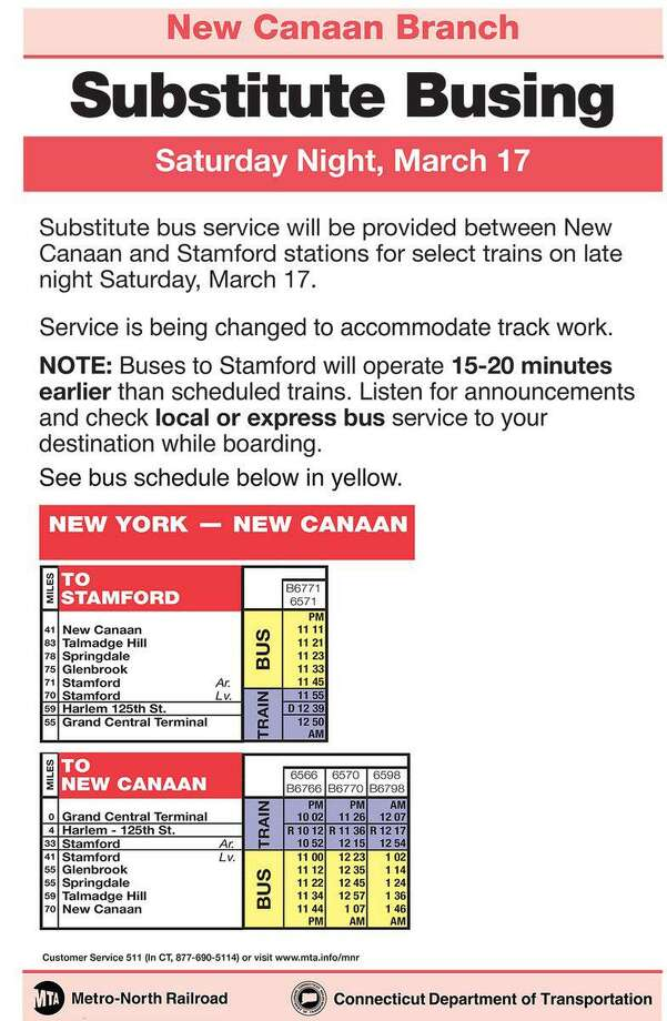 Select trains on the New Canaan branch of Metro-North Railroad will have substitute busing Saturday evening. Photo: Contributed Photo / Metro-North Railroad / Contributed Photo / Connecticut Post Contributed