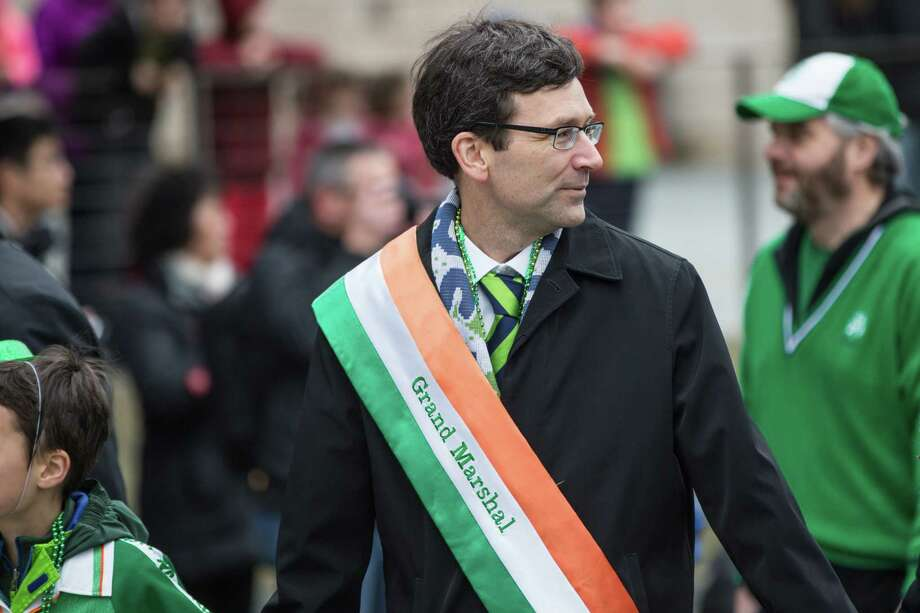 Washington Attorney General Bob Ferguson acts as the Grand Marshal of Seattle's annual St. Patrick's Day parade on Saturday, March 17, 2018. Photo: GRANT HINDSLEY, SEATTLEPI.COM / SEATTLEPI.COM