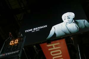 HOUSTON, TX - MARCH 15:  Houston Rockets had a moment of silence for New Orleans Saints and New Orleans Pelicans owner Tom Benson who passed away at age 90  at Toyota Center on March 15, 2018 in Houston, Texas. NOTE TO USER: User expressly acknowledges and agrees that, by downloading and or using this photograph, User is consenting to the terms and conditions of the Getty Images License Agreement.  (Photo by Bob Levey/Getty Images)