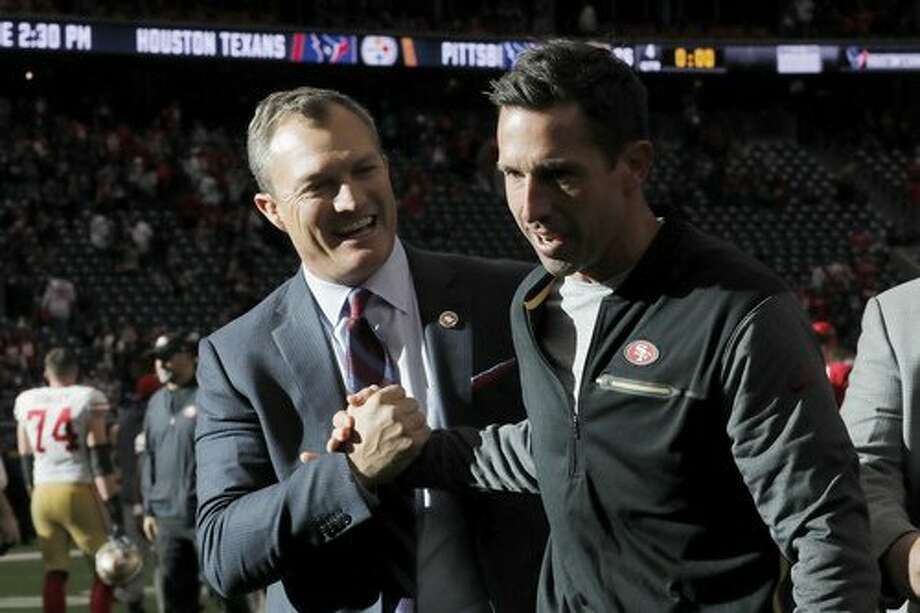 HOUSTON, TX - DECEMBER 10: Head coach Kyle Shanahan of the San Francisco 49ers celebrates with general manager John Lynch after the game against the Houston Texans at NRG Stadium on December 10, 2017 in Houston, Texas. (Photo by Tim Warner/Getty Images) Photo: Tim Warner / Getty Images