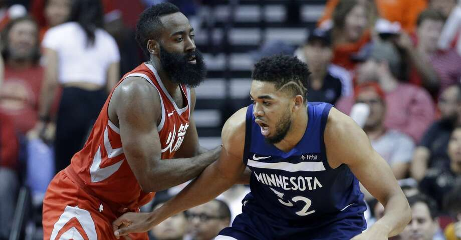 James Harden and the Rockets had their way against Karl-Anthony Towns' Timberwolves this season, sweeping the four-game season series. Minnesota could be Houston's first-round playoff opponent depending on what happens Wednesday. Photo: Michael Wyke/Associated Press