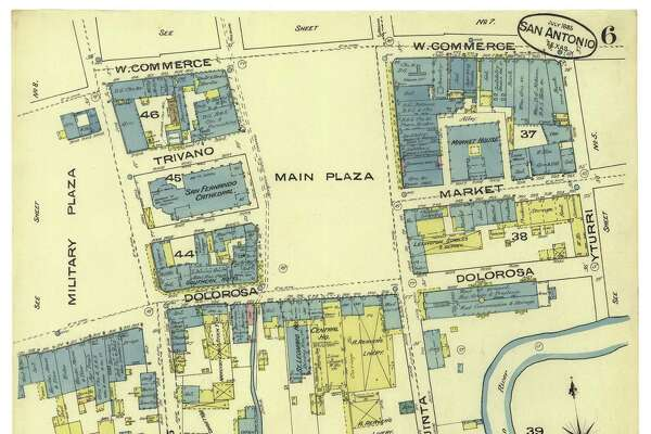 """Sanborn Insurance Co. maps show what's now Treviño Alley as """"Church Street"""" in 1877 and """"Trivano Street"""" in 1885. The one-block street between San Fernando Cathedral and Municipal Plaza recalls the Treviño family who owned property there during the early 19th century."""