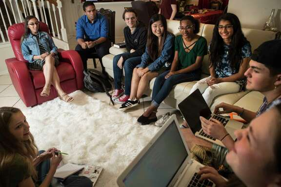 Sarah Lewis 17, Marcel McClinton, 16, Jack Reid 15, Kelly Choi, 17, Ariel Hobbs, 20, Pavitra Kotecha, 15, Noah Holbein, 15, Madie Lake, 16, Paige Cromley, 16, gather to plan the March For Our Lives taking place in Houston. The march advocates for reduced gun violence and greater gun control after the Parkland shooting. Saturday, March 10, 2018, in Katy.