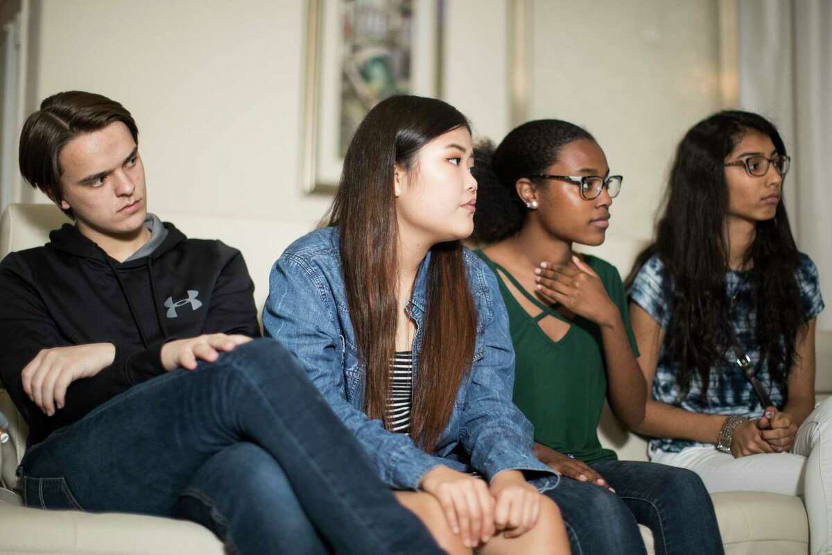 Jack Reid 15, Kelly Choi, 17, Ariel Hobbs, 20, and Pavitra Kotecha, 15, gather with other student leaders to brainstorm ideas to implement on the March For Our Lives rally taking place March 24th. Saturday, March 10, 2018, in Katy.