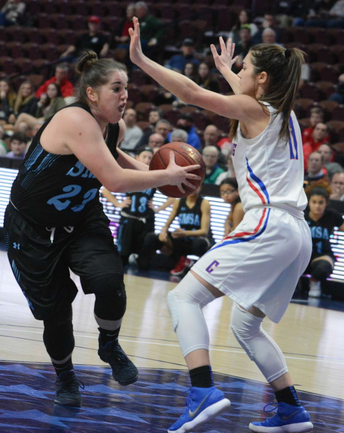 The Coginchaug girls basketball team defeated SMSA, 71-42 to win the Class S state championship Saturday, March 17, 2018.