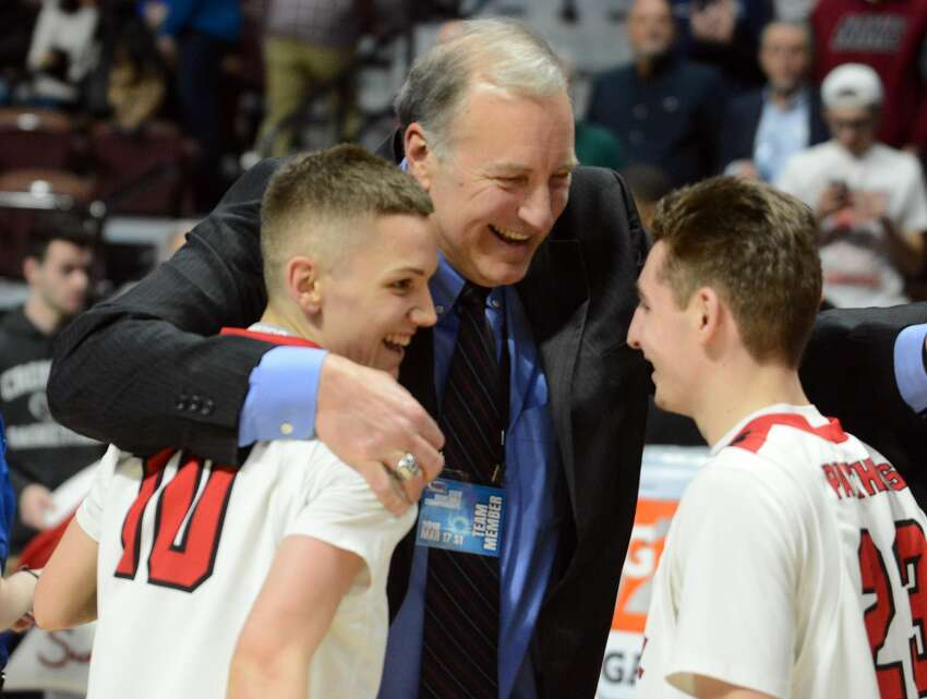 The Cromwell boys basketball team defeated Wamogo, 58-40 to win the 2018 CIAC Division V state championship at Mohegan Sun Arena in Uncasville on Saturday, March 17, 2018.