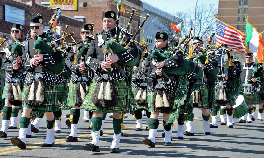 The NYSDOCCS Emerald Society Pipe Band marches in the 68th Annual Albany St. Patrick's Day Parade Saturday March 17, 2018 in Albany, NY. (John Carl D'Annibale/Times Union)