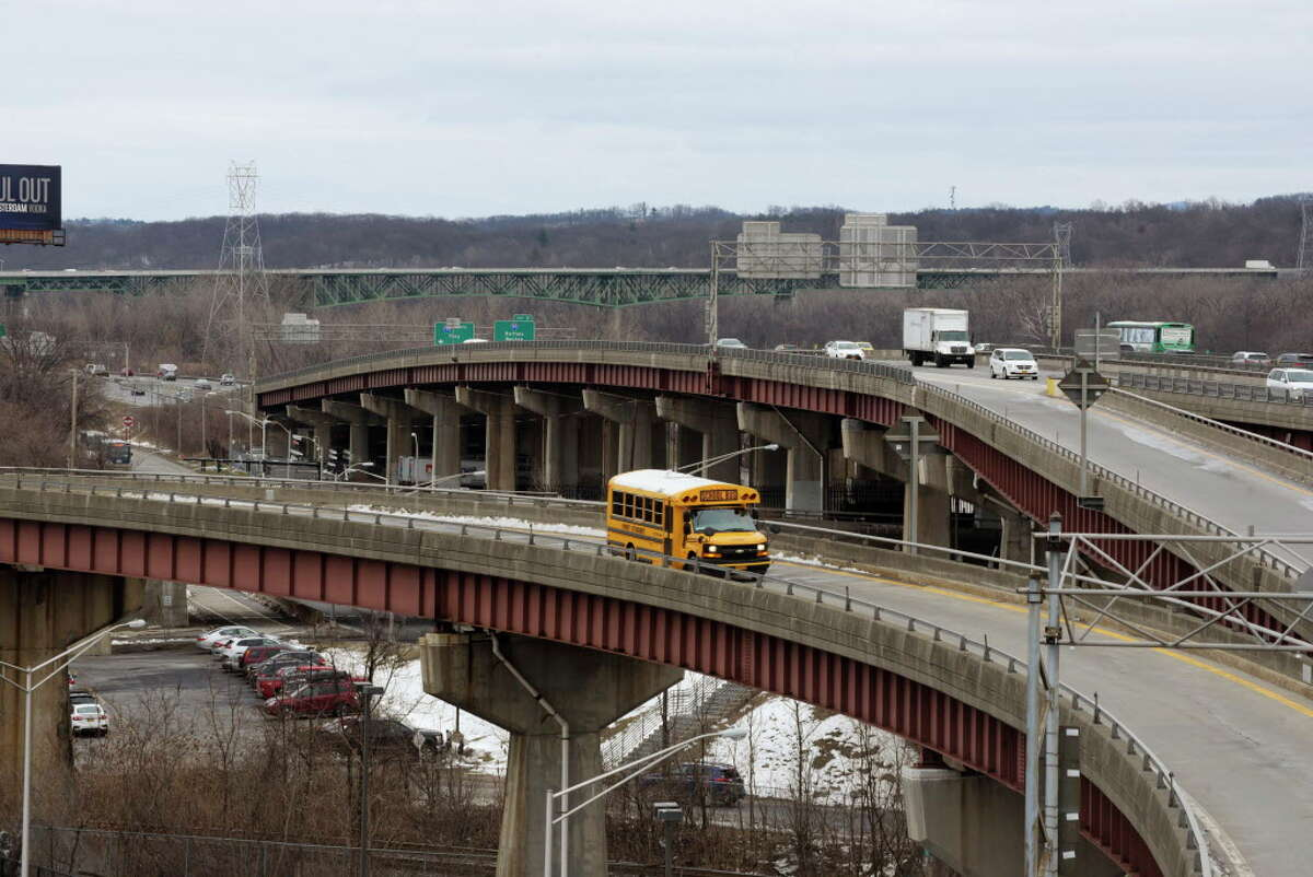 A school bus is driven on the ramp from Quay Street that connects to the exit ramp from 787 north and then onto Clinton Ave., seen here on Monday, March 5, 2018, in Albany, N.Y. A proposed park idea would turn the ramp from Quay Street into a park. (Paul Buckowski/Times Union)