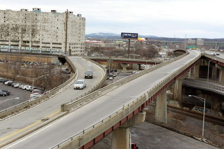 A view of the ramp from Quay Street, on the left in photo, and  the ramp from Interstate 787 north, that come together to exit onto Clinton Ave., seen here on Monday, March 5, 2018, in Albany, N.Y. A proposed park idea would turn the ramp from Quay Street into a park.   (Paul Buckowski/Times Union) Photo: Paul Buckowski/Times Union / (Paul Buckowski/Times Union)