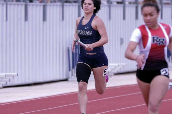 Aly Benavides and the Alexander girls' track team took first in the 4x100-meter relay.