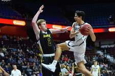 Game action during the Division II Championship Game between the Amity Spartans and the Immaculate Mustangs played at the Mohegan Sun Arena on Saturday March 17, 2018, in Montville, Connecticut.