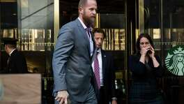FILE: Brad Parscale, the digital media director of President Trump's 2016 campaign has been hired to lead his 2020 presidential re-election campaign. NEW YORK, NY - NOVEMBER 16: (L to R) Brad Parscale, digital director for the Trump campaign, and Eli Miller, chief operating officer for the Trump campaign, exit Trump Tower, November 16, 2016 in New York City. Trump is in the process of choosing his presidential cabinet as he transitions from a candidate to the president-elect. (Photo by Drew Angerer/Getty Images)