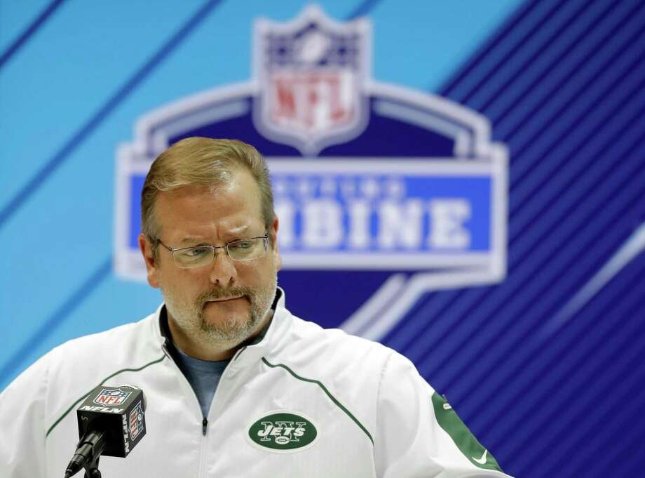 FILE - In this Feb. 28, 2018, file photo, New York Jets general manager Mike Maccagnan speaks during a press conference at the NFL football scouting combine in Indianapolis. The Jets have acquired the No. 3 overall pick in the NFL draft from the Indianapolis Colts on Saturday, March 17, 2018,, moving up three spots in a sign that they intend to get one of the top quarterbacks available. The Jets are sending the Colts their first-rounder, No. 6 overall ,along with two second-rounders this year and a second-rounder next year to complete the massive deal.  (AP Photo/Darron Cummings, File( Photo: Darron Cummings / Copyright 2018 The Associated Press. All rights reserved.